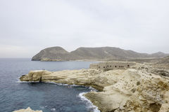 Rodalquilar, cabo De Gata, Andalusien, Spanien, Europa, das Schloss von San Ramon am Strand-EL-playazo Lizenzfreie Stockfotografie