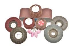 Rodas abrasivas isoladas em um branco Fotos de Stock