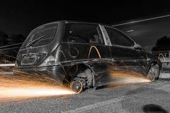 Rodas de carro com faíscas Foto de Stock