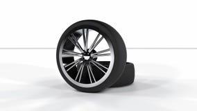 rodas de carro da ilustração 3d em um fundo branco ilustração stock