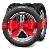 Rodas de carro do vetor com curva vermelha ilustração stock