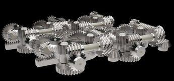 Rodas de engrenagem isoladas no preto Imagens de Stock Royalty Free
