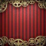 Rodas de engrenagem no fundo vermelho Fotos de Stock Royalty Free