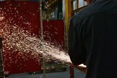 Rodas de moedura lustradas, pulverizadores do metal de processamento foto de stock