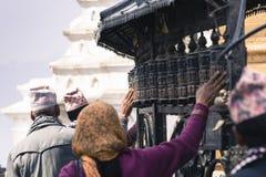 Rodas de oração em Swayambhu, Kathmandu, Nepal Imagem de Stock