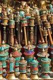 Rodas de oração nepalesas no stupa do swayambhunath em Kathmandu, Nepa imagens de stock