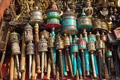 Rodas de oração nepalesas no stupa do swayambhunath em Kathmandu, Nepa fotografia de stock