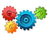 Rodas denteadas coloridas que dão forma à engrenagem Imagem de Stock