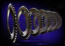 Rodas denteadas de prata em um azul Imagem de Stock Royalty Free