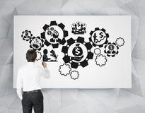 Rodas denteadas do desenho do homem de negócios Foto de Stock