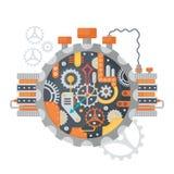Rodas denteadas do vintage de Steampunk e face do relógio dos relógios isolados no branco Ilustração do vetor ilustração royalty free