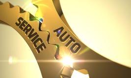 Rodas denteadas douradas com auto conceito do serviço 3d Foto de Stock Royalty Free