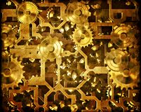 Rodas denteadas e maquinaria do steampunk do maquinismo de relojoaria Imagens de Stock Royalty Free