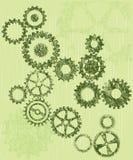 Rodas denteadas/engrenagens de Grunge em um fundo verde ilustração royalty free
