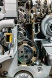 Rodas denteadas, engrenagens e rodas dentro do motor do caminhão imagem de stock royalty free