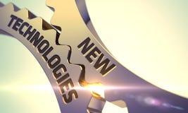 Rodas denteadas metálicas douradas com conceito das novas tecnologias Foto de Stock