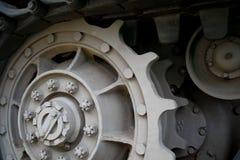 Rodas denteadas no conjunto de trilha de um tanque WW2 Fotografia de Stock Royalty Free