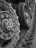 Rodas denteadas no conjunto de trilha de um tanque WW2 Fotografia de Stock