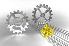 Rodas denteadas - solução - ouro Imagem de Stock Royalty Free