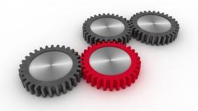 Rodas do metal e roda vermelha Imagens de Stock