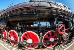 Rodas do motor locomotivo de vapor do vintage e detalhes das hastes Imagens de Stock Royalty Free