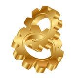 Rodas douradas da roda denteada Fotografia de Stock Royalty Free