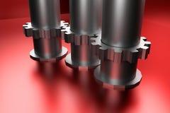 Rodas e tubulações de engrenagem no fundo de brilho vermelho Fotos de Stock Royalty Free