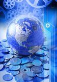 Rodas globais do comércio imagens de stock