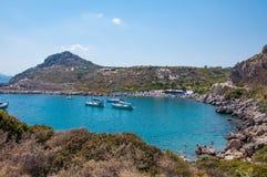 Rodas, Grecia - 11 de agosto de 2018: Bahía del ` s de Paul del apóstol, Rodas, Grecia fotografía de archivo