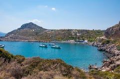 Rodas, Grecia - 11 de agosto de 2018: Bahía del ` s de Paul del apóstol, Rodas, Grecia imágenes de archivo libres de regalías