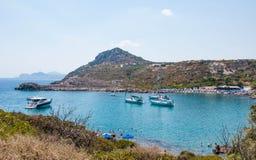 Rodas, Grecia - 11 de agosto de 2018: Bahía del ` s de Paul del apóstol, Rodas, Grecia fotografía de archivo libre de regalías