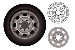 Rodas ou pneus do automóvel Ilustração Stock