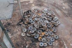 Rodas oxidadas velhas do trem, vista superior fotografia de stock