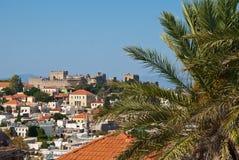 Rodas. Panorama de la ciudad vieja Imágenes de archivo libres de regalías