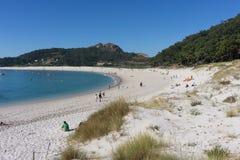 Rodas strand på den Cies ön Arkivfoto