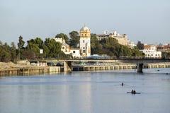 Roddare på Kanal de Alfonso av Rio Guadalquivir River, Sevilla, sydliga Spanien royaltyfria bilder