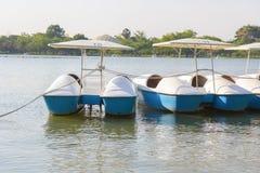 Roddbåt i dammet av parkera Arkivbild