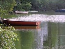Roddbåt på det gröna vattnet Fotografering för Bildbyråer