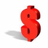 Rode 3d dollar met een schaduw Royalty-vrije Stock Foto's