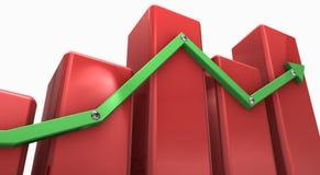 Rode 3d grafiek met groene pijl Royalty-vrije Stock Afbeeldingen