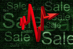 Rode 3D Grafiek op de Achtergrond van de Verkoop Royalty-vrije Stock Afbeelding