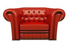Rode 3d leerleunstoel Royalty-vrije Stock Foto's