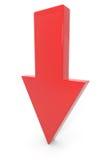 Rode 3d pijl neer. Royalty-vrije Stock Afbeelding