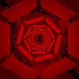 Rode 3D tunnelachtergrond Royalty-vrije Stock Afbeeldingen