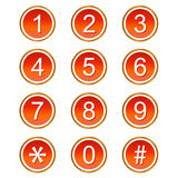 Rode aantallenpictogrammen Stock Fotografie