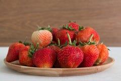 Rode aardbeien, close-up, diepte van gebied Royalty-vrije Stock Foto's
