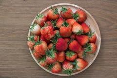 Rode aardbeien, close-up, diepte van gebied Stock Afbeelding