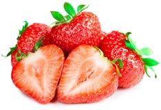 Rode aardbeien op witte geïsoleerde achtergrond Royalty-vrije Stock Afbeeldingen
