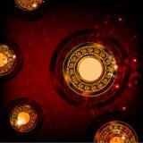 Rode abstracte achtergrond met ronde vormen Stock Fotografie