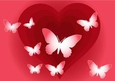 Rode abstracte harten met vlinders Royalty-vrije Stock Afbeelding